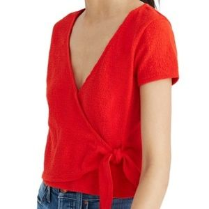 Madewell Texture & Thread Wrap Top Side Tie Red XL